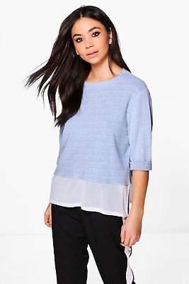 Damen Amber Meliertes Sweatshirt aus Webmaterial in Blassblau größe S