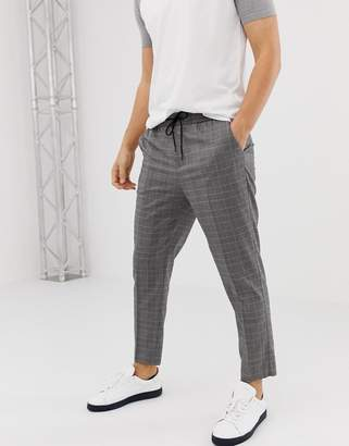 New Look slim fit smart joggers in black check
