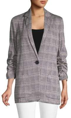 Max Studio Houndstooth Plaid Jacket