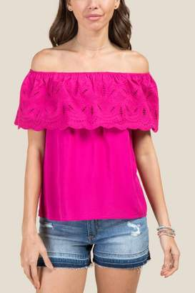 Valencia Off The Shoulder Embroidered Blouse - Fuchsia