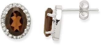 Miore Smoky Topaz Earrings 9ct White Gold Diamond and Smoky Topaz Studs 0.2 Carat Diamond Weight JM038E6W