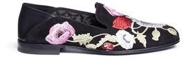 Alexander McQueenAlexander McQueen Floral embroidered suede step-in loafers