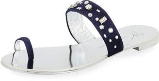 Giuseppe Zanotti Crystal-Embellished Suede Toe-Ring Sandal