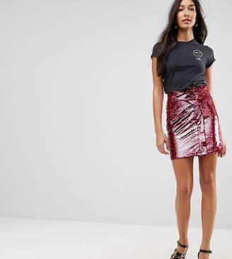 Asos Tall Sequin Tulip Mini Skirt