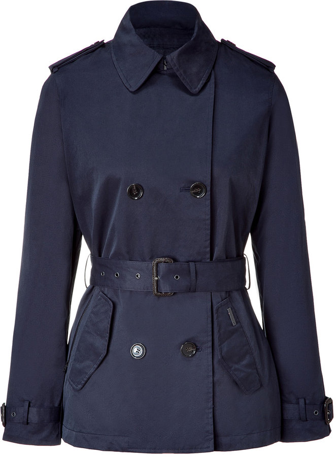 Woolrich Classic Navy Short Oberlin Trench Coat