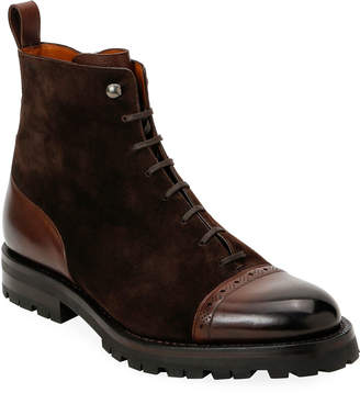 Bally Men's Gerome Brogue Leather & Suede Lug-Sole Boots