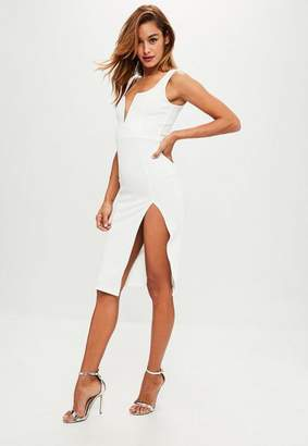 Missguided White Scoop Neck V Bar Side Split Midi