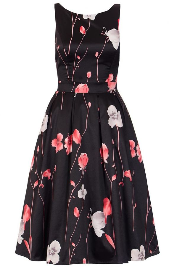 Quiz Black And Red Satin Flower Print Dress Women