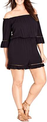 City Chic Off the Shoulder Romper