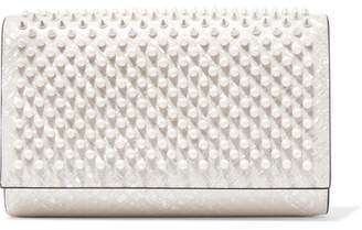 Christian Louboutin Paloma Spiked Patent-leather Clutch - White