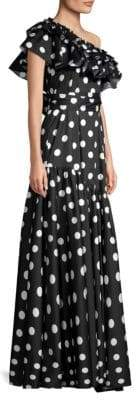 Caroline Constas Rhea Polka Dot One-Shoulder Gown