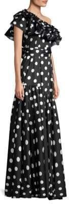Caroline Constas Rhea Polka Dot One-Shoulder Gown