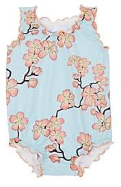 Submarine INFANTS' CHERRY-BLOSSOM ONE-PIECE SWIMSUIT - BLUE SIZE 12 M