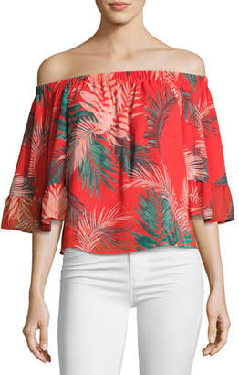 Rebecca Minkoff Faith Tropical Palm Off-the-Shoulder Top, Red