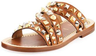 Christian Louboutin Studded Strappy Leather Slide Sandal