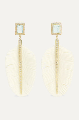 Jacquie Aiche 14-karat Gold, Bone, Diamond And Aquamarine Earrings