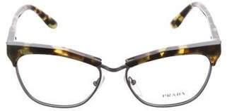 Prada Half-Rim Logo Eyeglasses