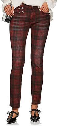 R 13 Women's Kate Plaid Skinny Jeans - Red