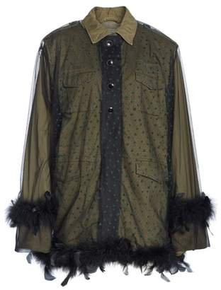 Tu es mon Tresor Military Jacket with Removable Tulle & Feather Overlay