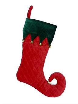 Christmas Shop Stocking-Quilted Jester Cuff Green