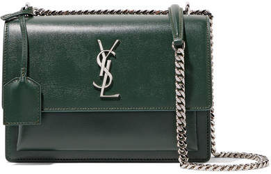Saint Laurent - Sunset Medium Textured-leather Shoulder Bag - Dark green