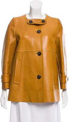Prada Leather A-Line Jacket