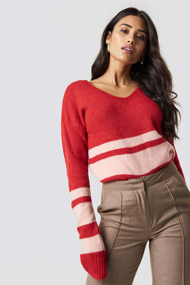 Trendyol Arm Striped Knitted Sweater Gray