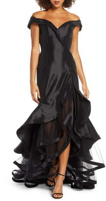 Mac Duggal Ieena for Hart Portrait Collar Tiered Taffeta Gown