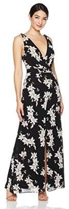 Social Graces Women's Vintage V-Neck Midi Dress with Ruffle Sleeve
