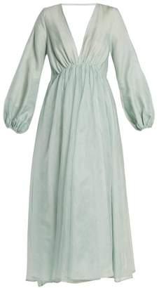 Kalita - Aphrodite Deep V Neck Silk Organza Maxi Dress - Womens - Light Green