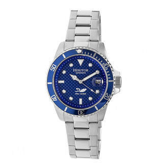 Heritor Automatic Pytheas Mens Pro-Diver Bracelet Watch With Magnified Date Display-Silver/Navy Watches
