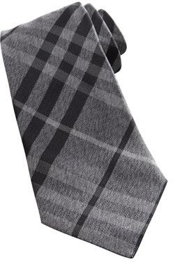 Burberry Check Herringbone Tie, Gray