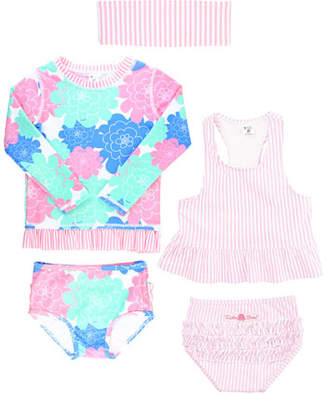 RuffleButts Petals & Seersucker 5-Piece Swimsuit Layette Set, Size 2-8