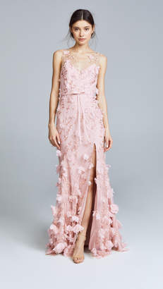 Marchesa Embroidered Gown with 3D Flowers