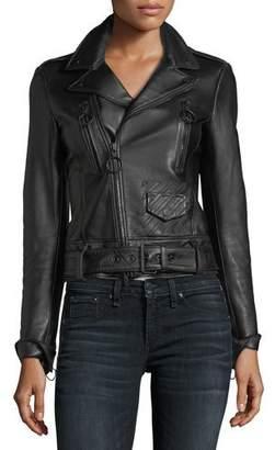 Off-White Garden-Embroidered Back Leather Biker Jacket