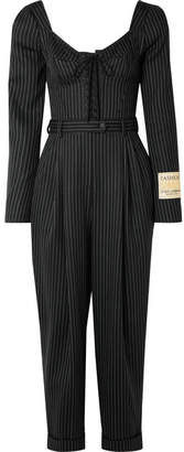 Dolce & Gabbana Lace-up Pinstriped Wool-blend Jumpsuit - Black