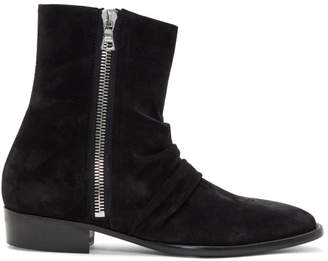 Amiri Black Suede Skinny Stack Boots