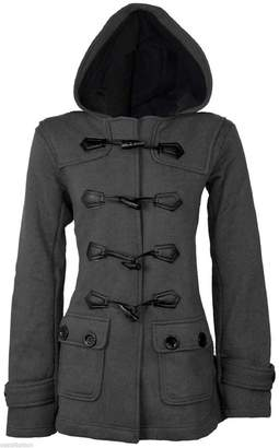 Oasis Fashion Women's Hooded Duffle Trench Coat Jacket With Hood & Toggle