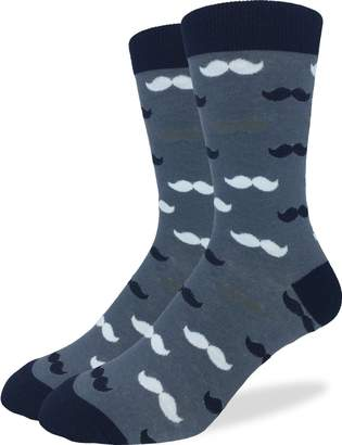 Good Luck Sock Men's Extra Large Mustache Socks, Size 13-17, Big & Tall