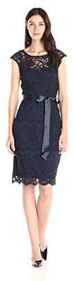 Marina Women's Floral Lace with Cap Shoulder Dress with Illusion Bodice $109 thestylecure.com