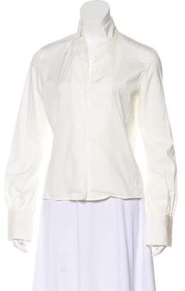 Akris Long Sleeve Button-Up Blouse