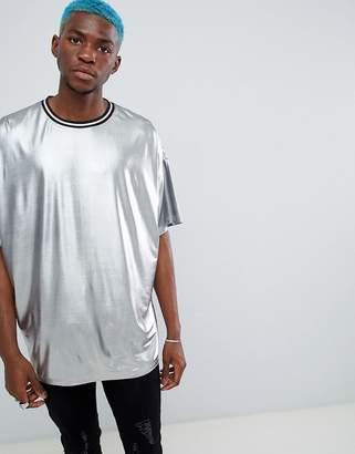 Asos Design Festival Oversized Longline T-Shirt In Liquid Gunmetal Silver