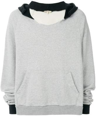Yeezy distressed cut-neck hoodie