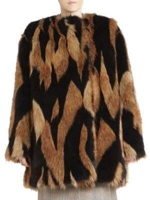 Givenchy Intarsia Boxy Faux-Fur Coat