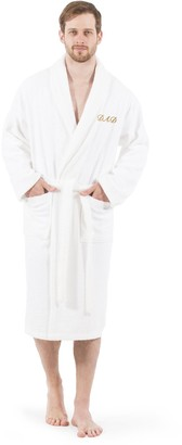 "Linum Home Textiles ""Dad"" Embroidered Terry Bathrobe"