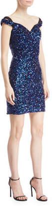 Jovani Sequin Cap-Sleeve Mini Dress