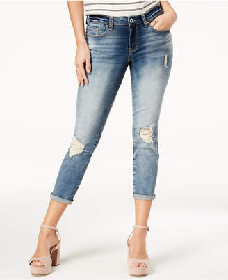 Jessica Simpson Juniors' Forever Ripped Cuffed Skinny Ankle Jeans