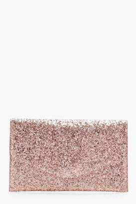 boohoo Glitter Clutch With Chain