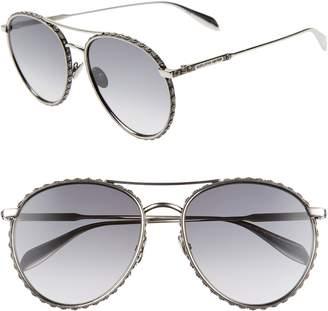 6918e54501bb Alexander McQueen 58mm Swarovski Crystal Trim Round Aviator Sunglasses