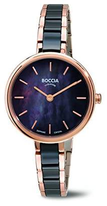Mother of Pearl Boccia Women's Quartz Watch with Dial Analogue Display and Black Titanium Bracelet B3245-03